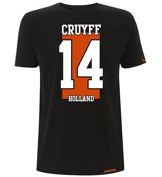 Münk - Johan Cruyff Holland - Camisetas de diseño Retro fútbol Vintage - Muñeco Recortable Gratis: Amazon.es: Ropa y accesorios