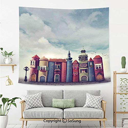 SoSung Fantasy Decor Wall Tapestry,City with Old Books Style Buildings Birds Cloudy Sky Literature Magic Fun Cityscape Decorative,Bedroom Living Room Dorm Wall Hanging,92X70 Inches,Red Blue