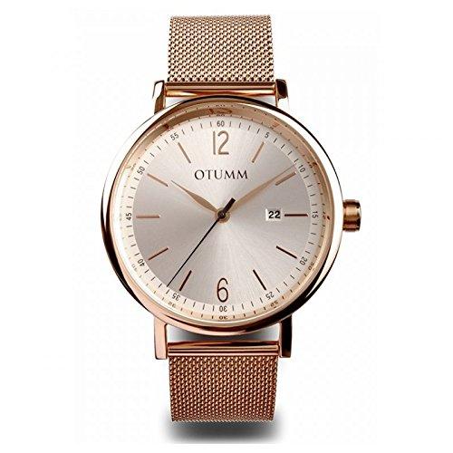 Otumm Mesh Hombre Oro Rosa Calendario Romano 43mm Hombre Mesh Reloj: Amazon.es: Relojes