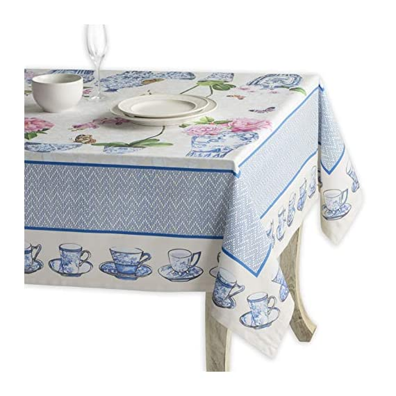 Maison d' Hermine Canton 100% Cotton Tablecloth for Kitchen Dining | Tabletop | Decoration | Parties | Weddings | Spring/Summer (Square, 54 Inch by 54 Inch). - Designed in France 100% Cotton and machine washable Package includes - 1 Tablecloth - tablecloths, kitchen-dining-room-table-linens, kitchen-dining-room - 51aNPVmw5nL. SS570  -