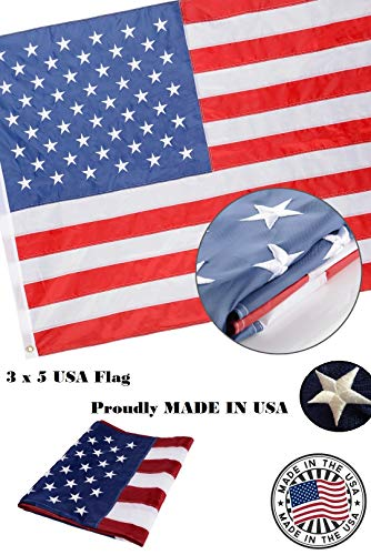 (Professional Selling American US Flag 3x5 Feet 100% Made in USA Embroidered Stars Brass Grommets Sewing Strips United States Pride Nylon 210D Oxford Nylon Outdoor National Flag Waterproof 3 x 5 Foot)