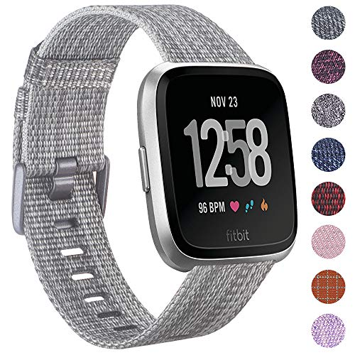 EZCO Compatible Fitbit Versa Bands, Woven Fabric Breathable Watch Strap Quick Release Replacement Wristband Accessories Compatible Fitbit Versa Smart Watch Women Man, Silver Grey