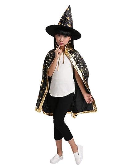 Guiran Disfraz De Mago para Niños Traje De Cosplay En Halloween Navidad Capa con Sombrero