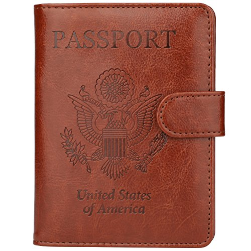 GDTK Leather Passport Holder Cover Case RFID Blocking Travel Wallet (Brown)