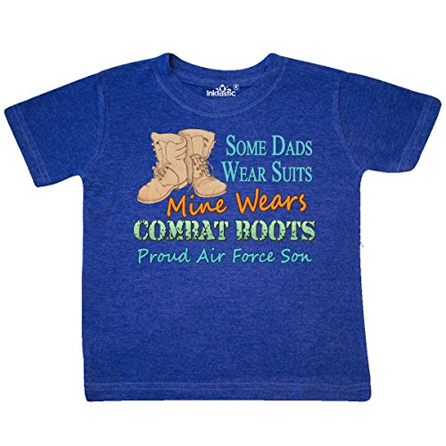 - inktastic - Daddy's Boots Air Force Son Toddler T-Shirt 2T Retro Heather Royal