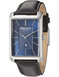 Kenneth Cole New York Mens Classic Quartz Stainless Steel and Leather Dress Watch, Color:Black (Model: 10030830)