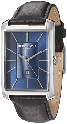 Kenneth Cole New York Men's 'Classic' Quartz Stainless Steel and Leather Dress Watch, Color:Black (Model: 10030830)