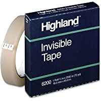 Highland Invisible Tape - 3 Core, 3/4x2592, Clear(sold in packs of 3)