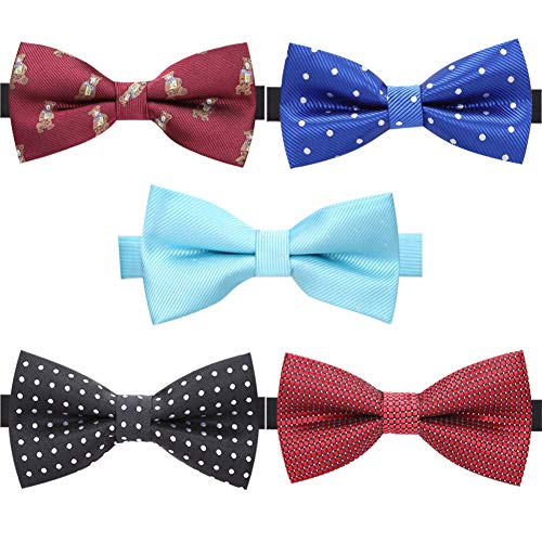 AUSKY 5 PACKS Elegant Adjustable Pre-tied bow ties for Men Boys in Different Colors (I)]()