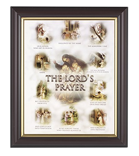 The Lords Prayer Print in a Fine Detailed Channel Grooved Dark Walnut 10