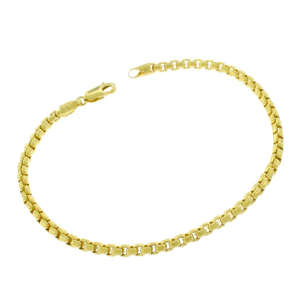14k Yellow Gold 3.5mm Round Box Link Bracelet Chain 8''
