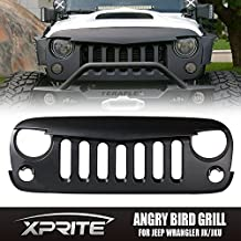 Xprite Front Matte Black Angry Bird Grille Grid Grill for Jeep Wrangler Rubicon Sahara JK 2007-2017