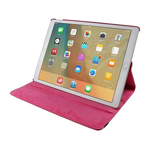 iPad Air 2 Estuche de Cuero para Negocios,elecfan ® SmartCase Sueño para iPad Air 2 / 360 Grados de Cuero Caso del Protector de Pantalla Soporte de la Cubierta (iPad Air 2, Negro) Rosa roja