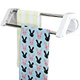 TEERFU Vacuum Suction Cup Double Towel Bar Shower Mat Rod Removeable Holder Washrag Clothes washcloths Wall Mount Shelf Rack Bath Accessory No Drill,23.5inch long