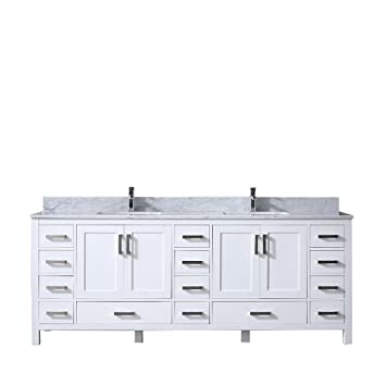 Jacques 84 Double Vanity White White Carrera Marble Top White