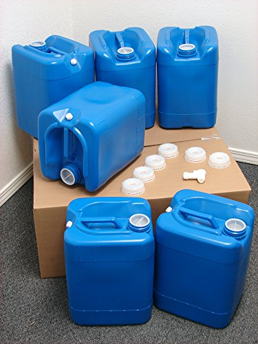 (5 Gallon Samson Stackers, Blue, 6 Pack (30 Gallons), Emergency Water Storage Kit - New! - Clean! - Boxed! Spigot. Cap Wrench.)