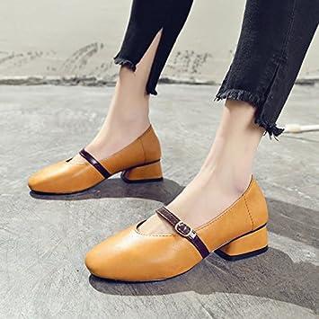 GAOLIM La Palabra En El Sujetador De Resorte Zapatos Gruesos Con Solo Zapatos Luz Hembra Boca Y Cabeza Cuadrada Chica Zapatos: Amazon.es: Deportes y aire ...