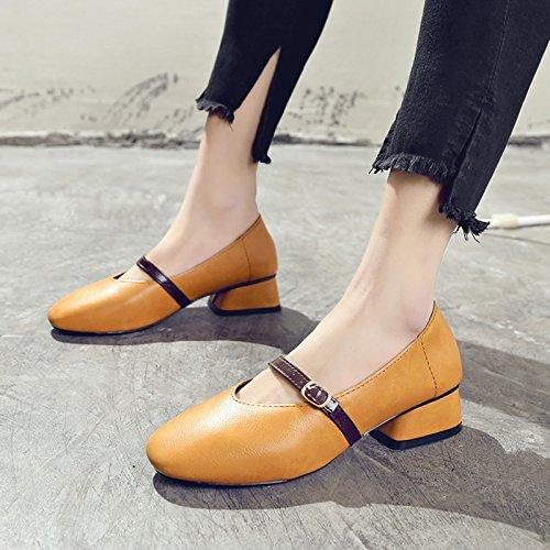 Sujetador El Zapatos En Resorte Boca Brown Cuadrada GAOLIM Con De La Chica Palabra Luz Zapatos Hembra Y Gruesos Cabeza Solo Zapatos xq1ItgnfwH