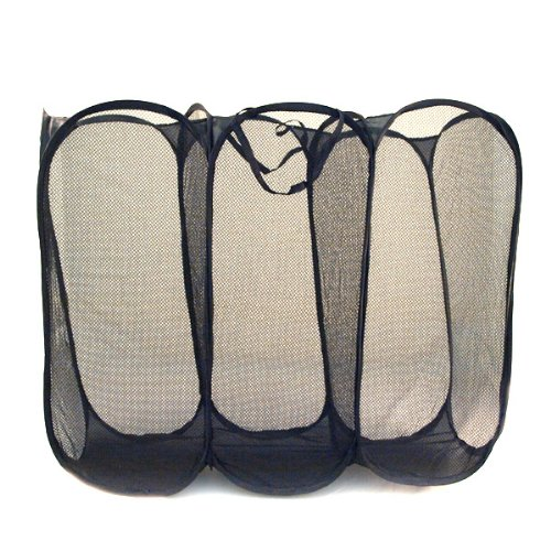 Black Triple Component Mesh Hamper