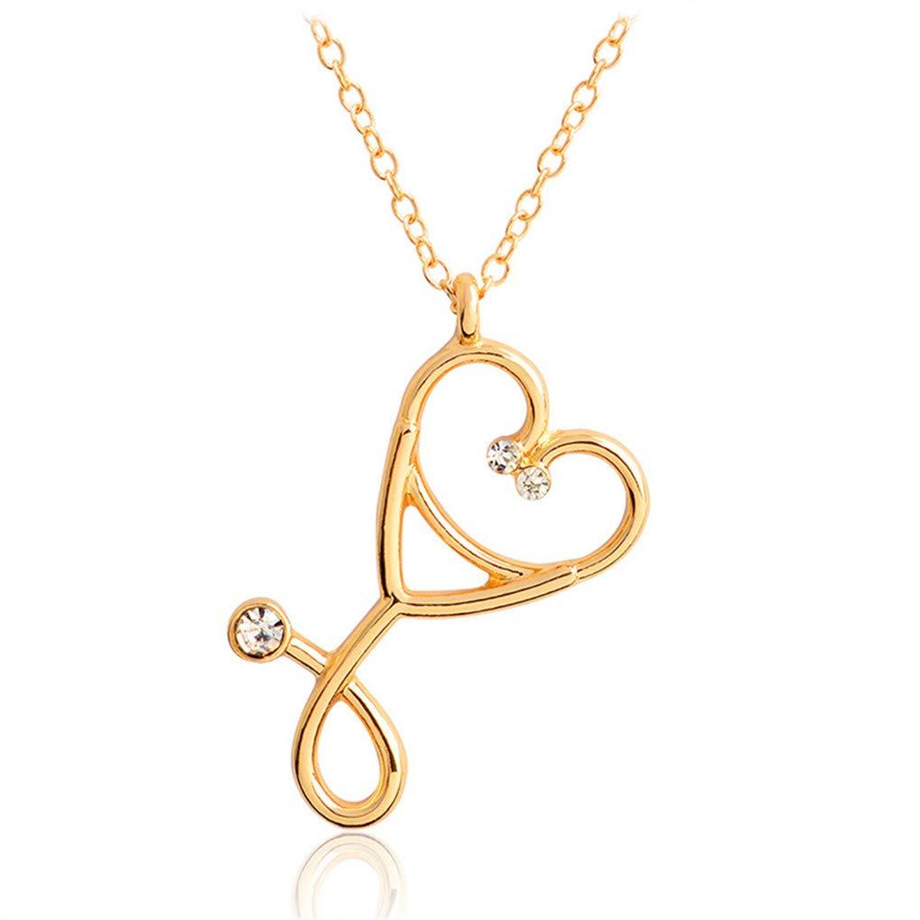 Eleusine Stethoscope Necklace Heart Stethoscope Pendant with Rhinestone Necklace Doctor Nurse Graduation Medical Gift for Women Girls (Gold)