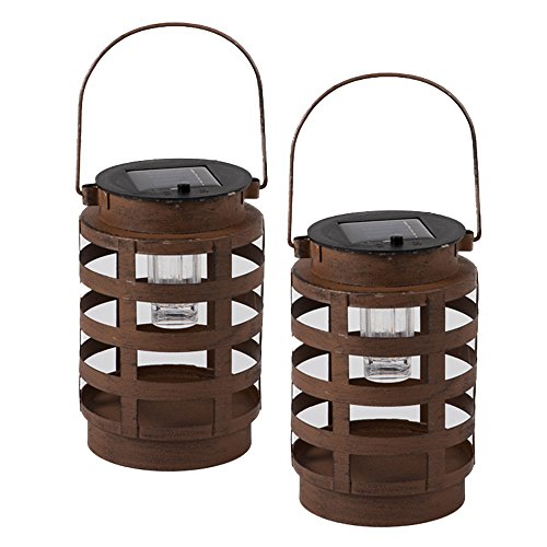Premium Solar Powered LED Lantern by Clever Creations | 2 Pack Decorative/Camping Hanging Lanterns | Quality Stainless Steel Construction | Indoor or Outdoor Use | Rustic Design (Malta Lantern)