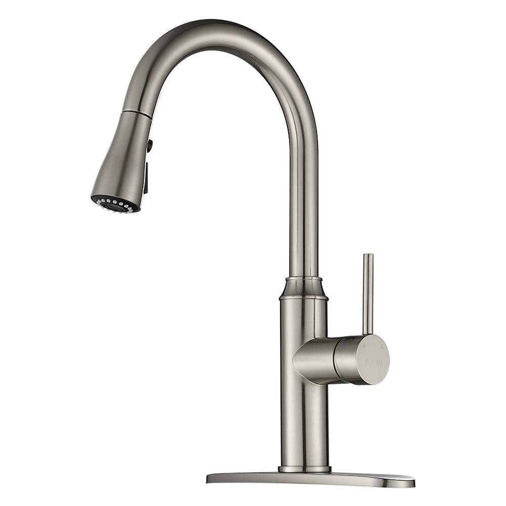 Kitchen Faucet Pull Down-Arofa A01LY Commercial Modern Single Hole Single Handle high arc Stainless Steel Brushed Nickel Kitchen Sink faucets with Pull Out Sprayer by Arofa