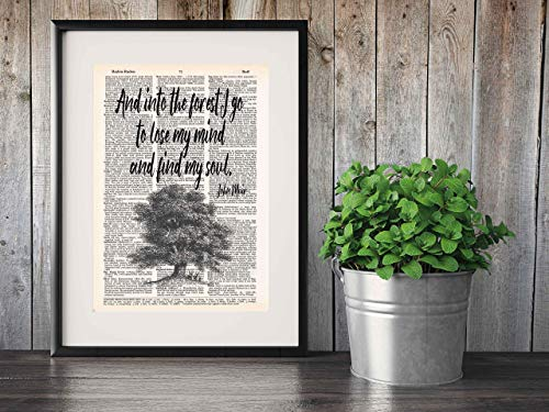Into the Forest I Go to Lose My Mind and Find My Soul, John Muir Quotes Art, Vintage Dictionary Page Print