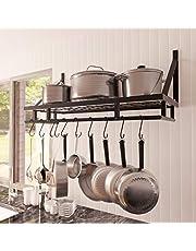 KES Pot Rack 30 Inches Kitchen Pot and Pan Organizer Rack Wall Pot Hangers with 12 Hooks Matte Black, KUR215S75A-BK