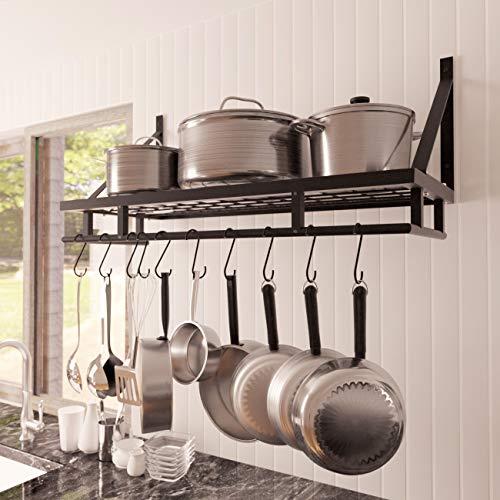 Kes 30-Inch Kitchen Pan Pot Rack Wall Mounted Hanging Storage Organizer Wall Shelf with 12 Hooks Matte Black, KUR215S75A-BK