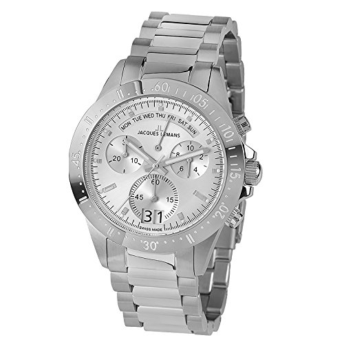Jacques Lemans Men's Sport Jubilaeumsuhr 44mm Steel Bracelet & Case Quartz Silver-Tone Dial Watch 40-10A