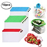Reusable Produce Bags 12 Pack, Washable Eco Friendly Mesh Bags with Drawstring for Grocery Shopping Storage Fruit Vegetable Toys