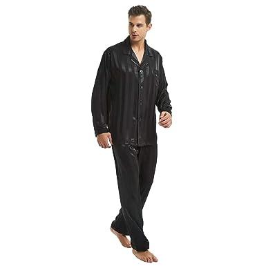 e15e6fd18 Mens Satin Long Button-Down Pajamas Set S M L XL 2XL 3XL 4XL at Amazon  Men's Clothing store: