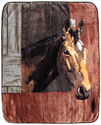 Northpoint Printed Raschel Animal Throw, Bay in Barn by Northpoint