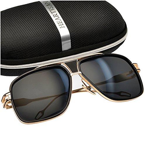 Heartisan Golden Frame Vintage UV400 Protection Aviator Sunglasses - Glasses Sell Stores That
