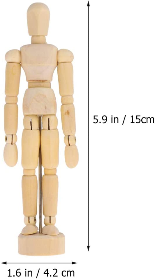 12 Inches STOBOK Artists Wooden Mannequin Model 3D Movable Joint Puppet Doll Sketch Drawing The Human Figure Ornament Decoration