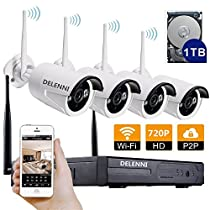 DELENNI 4CH WIFI NVR Wireless Security CCTV Cameras with 4 Outdoor Wireless 720P Wireless IP Night Vision Outdoor Surveillance CCTV Camera Home Security Surveillance Kits (720P 1TB hard disk)