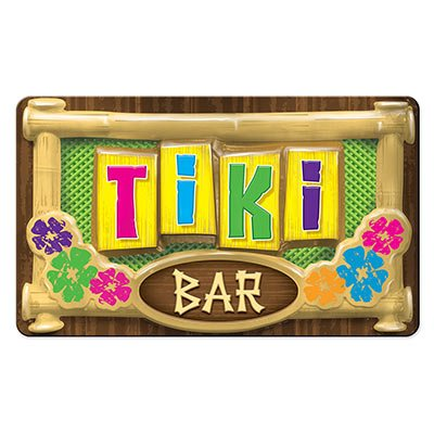 "Beistle Large Plastic 3-D Tiki Bar Sign 12.5"" x 17"" Decoration"