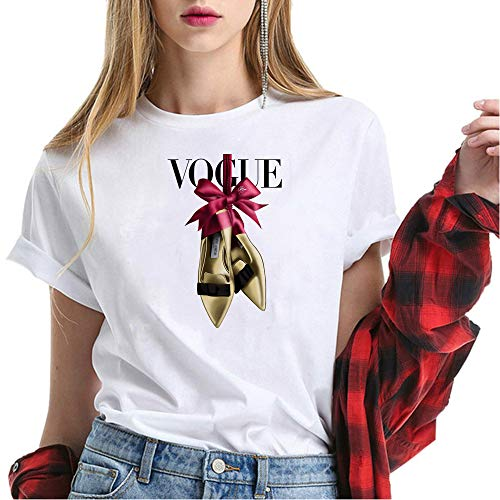 (Vogue Ladies t-Shirt for Women Vogue Printed T-Shirt Women Tops White)