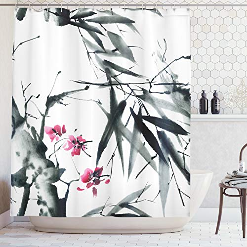 Cherry Blossom Bamboo - Ambesonne Traditional House Decor Shower Curtain, Natural Sacred Bamboo Stems with Cherry Blossom Folk Art Print, Fabric Bathroom Decor Set with Hooks, 70 Inches, Green Fuchsia