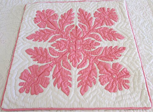 (2 Hawaiian quilt throw pillow cover 18x18 100% hand quilted/100% hand appliqued)