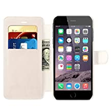 iPhone 6s Plus / iPhone 6 Plus Wallet Case, Benuo™ Leather Case, Flip Cover Case with MagneticClasp & Stand Feature for iPhone 6 Plus (2014) / iPhone 6s Plus (2015) - (White)