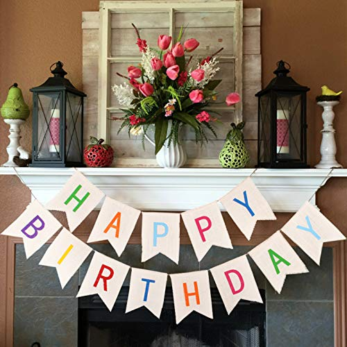 Burlap Happy Birthday Banners for Adults Kids Colorful Bunting Garland Flags for Birthday Party Decorations VAG041W]()