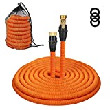 100 ft expandable hose - Tacklife 100ft Garden Hose, Innovative 2018 Leakproof Patent Connector Lightweight Expandable Water Hose, Durable Double Latex Core, Solid Brass Fittings, Free Net Bag, 3 Extra Rubber Gaskets - Orange