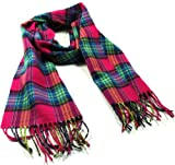 8364 Hot Pink Multi Plaid Super Soft Warm Winter Assorted Plaid Scarfs for Men and Women 12inches by 72 inches