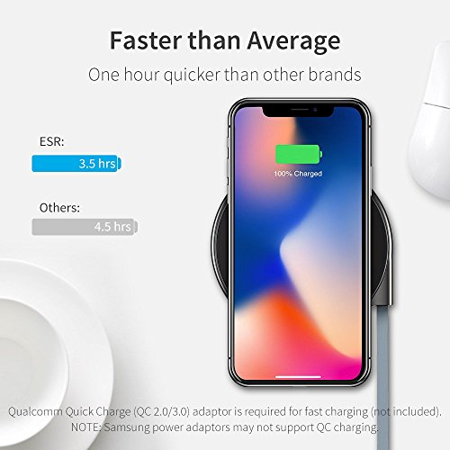 Wireless Charger, ESR Ultra-Slim Premium Qi Wireless Charging Pad iPhone X/iPhone 8/8 Plus, Metal Frame Fast-Charging The Samsung Galaxy S9/S9 Plus/S8/Note 8/S7/S7 Edge (No AC Adapter) by ESR (Image #1)