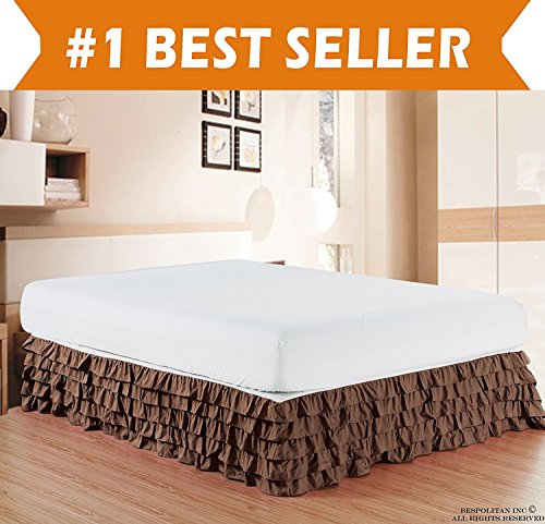 - Elegant Comfort Luxurious Premium Quality 1500 Thread Count Wrinkle and Fade Resistant Egyptian Quality Microfiber Multi-Ruffle Bed Skirt - 15inch Drop, King, Chocolate Brown