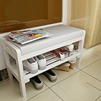 Solid wood Multifunction Changing shoes stool,Shoe stool [shoebox] Shoe rack For [hall] [entrance] Corridor-White 653040cm