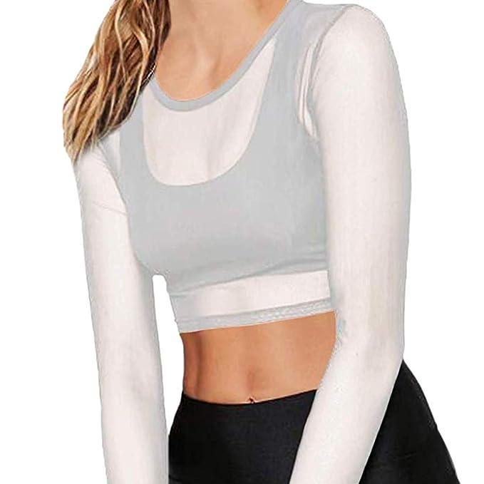 Mymyguoe Mujer Malla Transparente Tops Blusa de Manga Larga de Malla Transparente Sexy para Mujer op de protección Solar Capa Superior: Amazon.es: Ropa y ...