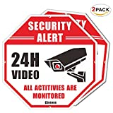 COSOOS 2-Pack Video Security Sign - CCTV Security Alert, Octagon 12''x12'' 40Mil Thick Aluminum, 24 Hour Surveillance No Trespassing Metal Warning Sign, UV Protected & Waterproof (Reflective)