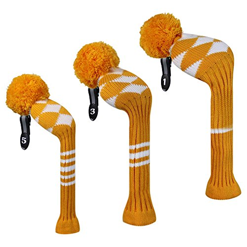 Gold/white Argyle Style Golf Pom Pom Driver Wood Headcover, Long Neck, Set of 3 for Driver(460 Cc), Fairway Wood, and Hybrid